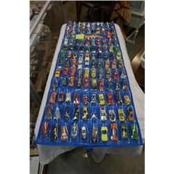 HOTWHEELS DOOR HANGER TOY CAR HOLDER WITH 114 VEHICLE, MANY IN NEW CONDITION, SOME VINTAGE
