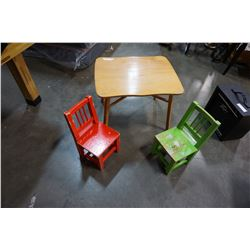 KIDS TABLE, AND RED AND GREEN CHAIRS