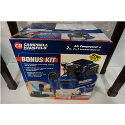 NEW CAMPBELL HAUSFIELD 2 IN 1 BRAD NAILER STAPLER AND AIR COMPRESSOR KIT