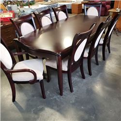 MODERN DINING TABLE W/ LEAF AND 8 CHAIRS