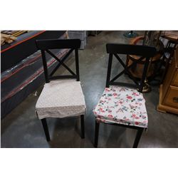 2 BLACK DINING CHAIRS WITH CUSHIONS