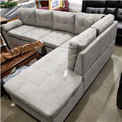 BRAND NEW 2 PIECE GREY FABRIC SECTIONAL SOFA, DEEP SEATING, REMOVABLE BACKS FOR EASY TRANSPORT, RETA