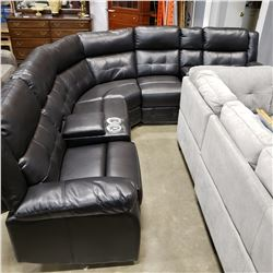 BRAND NEW TUFTED BLACK LEATHER 3 PIECE SECTIONAL SOFA, POWER RECLINING, UNDERLIGHTING, CONSOLE AND C