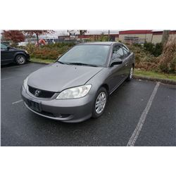 2005 HONDA CIVIC, 2 DOOR COUPE, 5 SPEED MANUAL, 206XXX KM WITH KEY REGISTRATION AND CAR FAX