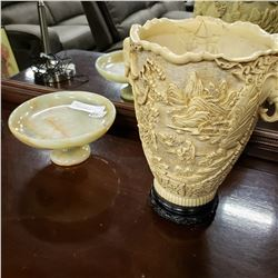 ALABASTER PEDESTAL BOWL AND CAST EASTERN BOWL, REPAIRED