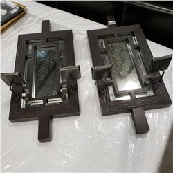 2 WOOD FRAMED MIRRORED WALL CANDLE HOLDERS