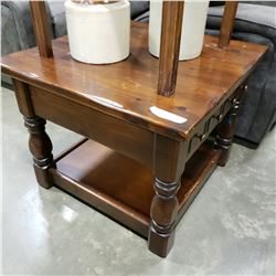 VINTAGE WOOD 1 DRAWER END TABLE