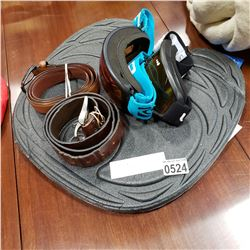 2 PAIRS SNOW GOGGLES, 2 MENS LEATHER BELTS, SEAT PAD