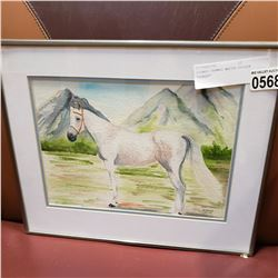 """SIGNED FRAMED WATER COLOUR """"HORSE"""""""