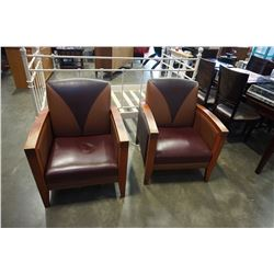 2 WOOD FRAMED LEATHER ARMCHAIRS