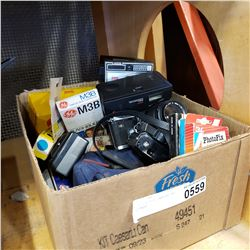 BOX OF VINTAGE CAMERAS AND EQUIPMENT