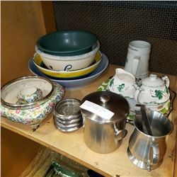 LOT OF ESTATE BOWLS, CHINA, ICE BUCKET, STEINS, ETC