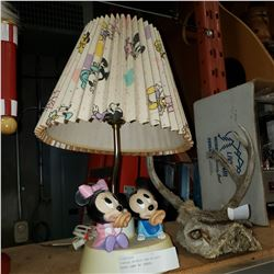 VINTAGE MINNIE AND MICKEY MOUSE LAMP W/ SHADE