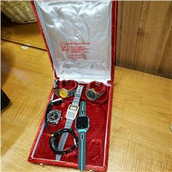 TRAY OF MENS WATCHES IN RED CASE