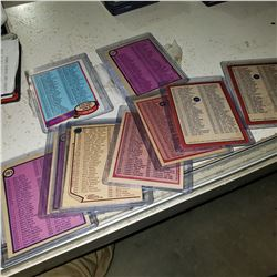 LOT OF VINTAGE UNMARKED OPEECHEE CHECKLIST CARDS FROM VARIOUS YEARS