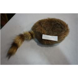 VINTAGE FUR HAT W/ RACCOON TAIL SIZE YOUTH LARGE