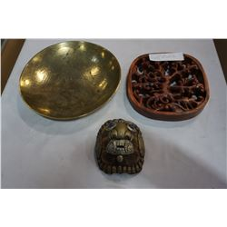 LOT OF BRASS BOWL, TORTISE DEATH MASK, AND CARVED WOOD DECORATION