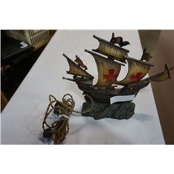 ANTIQUE SANTA MARIE CAST SHIP LAMP - WORKS