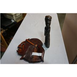 CARVED PLAQUE AND FIGURE AND CARVED MASK ON STAND AND TEALIGHT WALL HOLDER WITH STRETCHED LSEATHER A