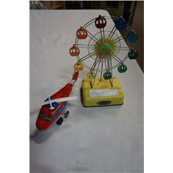 VINTAGE MUSICAL LAND FERRIS WHEEL AND TIN HELICOPTER