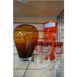RUBY ETCHED VASE, HANDMADE AMBER VASE, MADE IN POLLAND, AND 5 ETCHED LIQUOR GLASSES