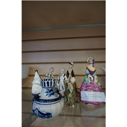 REPAIRED LADY FIGURES DELFT SALT SHAKER, DISH, AND CANDLE HOLDER