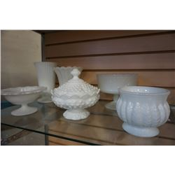 LOT OF MILK GLASS VASES AND BOWLS