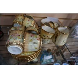 HAND PAINTED CHINA CUPS AND SAUCERS, CREAM, AND BOWL