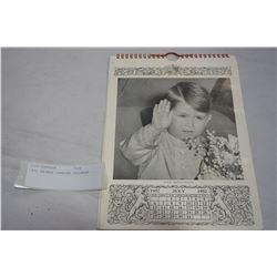 1952 PRINCE CHARLES CALENDAR