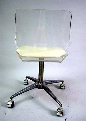 Prime A Lucite Desk Chair With Beige Vinyl Seat And Chrome Machost Co Dining Chair Design Ideas Machostcouk