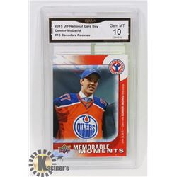 "GRADED 10 CONNOR MCDAVID ""CANADA'S ROOKIES"" CARD."