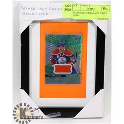 FRAMED LEON DRAISAITL JERSEY CARD.