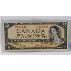 1954 CANADIAN FIFTY DOLLAR DEVILS FACE BILL