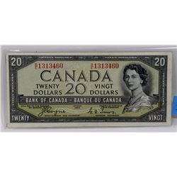 1954 CANADIAN TWENTY DOLLAR DEVILS FACE BILL