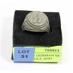 VINTAGE GERMAN SS RING SIZE 11 WITH EAGLE AND