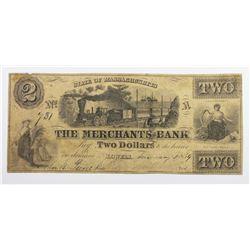 1859 $2 MERCHANTS BANK