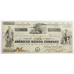 VERY RARE 1850 AMERICAN MINING CO.