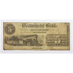 1852 $5 RARE WESTMINSTER BANK