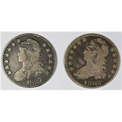 LOT OF TWO BUST HALVES 1808 & 1827