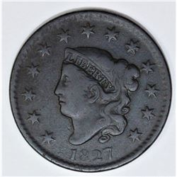 1827 LARGE CENT NEWCOMB 10 R4+