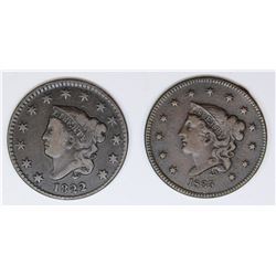 2 MATRON HEAD LARGE CENTS 1822 AND 1835