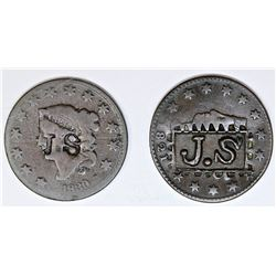 """2 EARLY COUNTER-STAMP """"JS"""" 1821 AND 1830"""