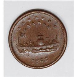 1863 CIVIL WAR PATRIOTIC TOKEN, MONITOR
