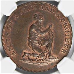 1790'S SLAVE TOKEN NGC MS 65
