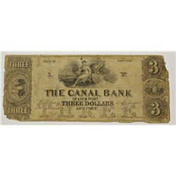 1840 $3.00 THE CANAL BANK OF LOCKPORT, NY