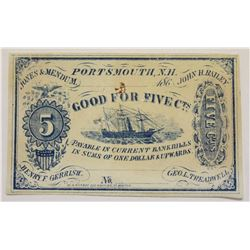 1860'S OBSOLETE FRACTIONAL FIVE CENT SCRIP