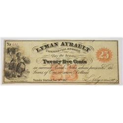 CIVIL WAR OBSOLETE TWENTY FIVE CENT SCRIP