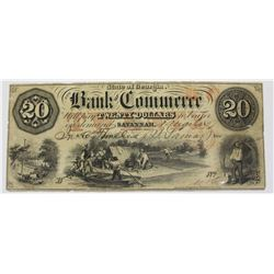 $20.00 1857 BANK OF COMMERCE SAVANNAH, GA