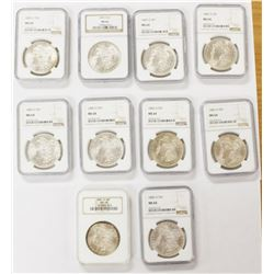 (10) 1885-O MORGAN SILVER DOLLARS