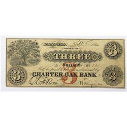 1862 $3 CHARTER OAK BANK